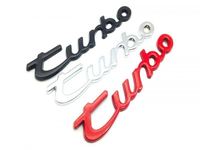 Porsche Turbo emblem till bilen. Svart, Silver, Röd