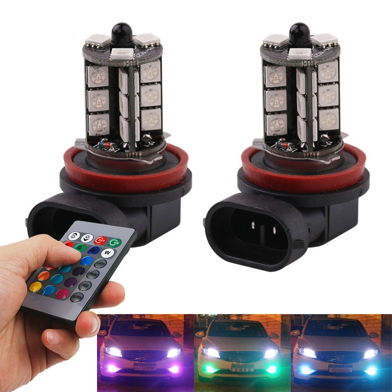 Kanon HB3 9005 RGB LED lampa lampor med fjärrkontroll till bilen JH-97