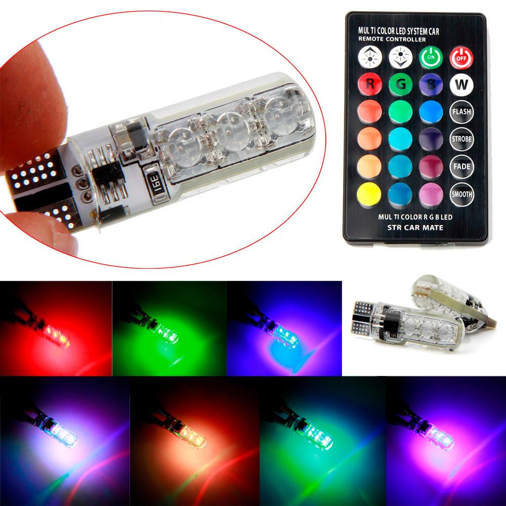 Fantastisk LED RGB T10 lampa lampor till din bil. Bytt färg med fjärrkontroll HW-26