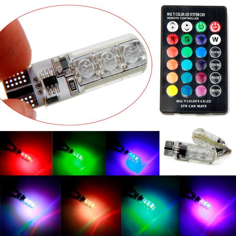 T10 W5W LED lampor RGB med fjärrkontroll. Alla färger
