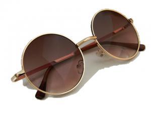 Runda retro solglasögon med brunt och svart glas
