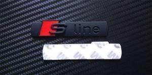 Audi S line Sline logo märke emblem i svart