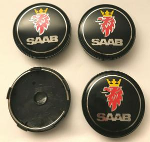 SAAB centrumkåpor i svart färg 63mm navkapslar