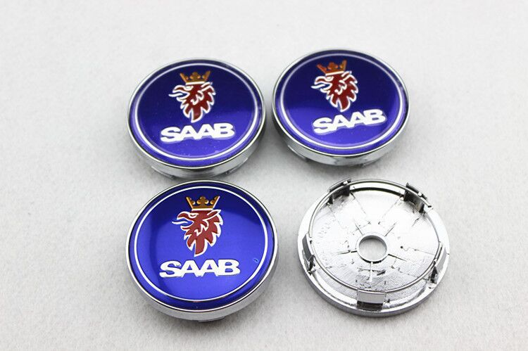 SAAB logo blåa centrumkåpor navkapslar 60, 63 mm