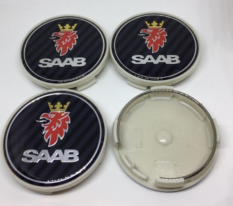 SAAB centrumkåpor i kolfiber 63 mm navkapslar