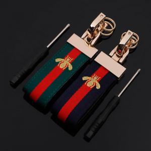 Lyxig läder nyckelring strap nyckelhänge grön guld