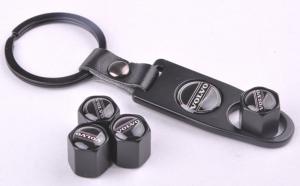 Volvo logo ventilhattar i svart med nyckelring