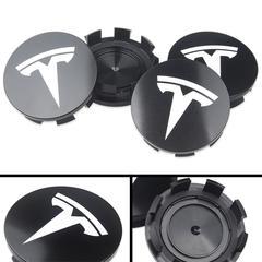 Tesla logo centrumkåpor 57mm i svart / silver