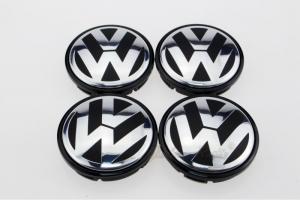 Volkswagen VW centrumkåpor fälg emblem i svart 4pack
