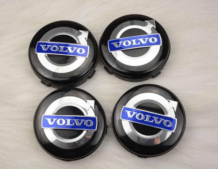 Volvo centrumkåpor fälg emblem i svart, 60, 64 mm