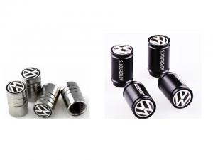 Volkswagen VW ventilhattar i svart och silver. 4-pack