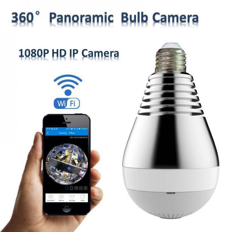 Dold kamera panorama wifi i form av E27 taklampa