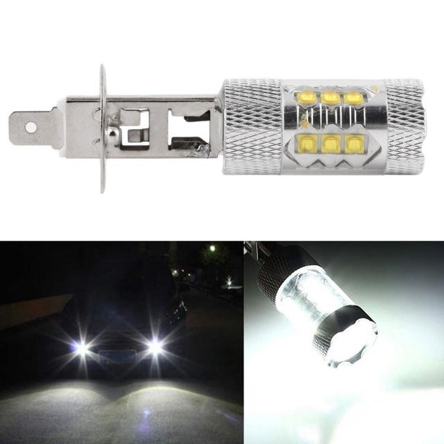 H1 diodlampa Xenonvit LED lampa med hela 80 Watt