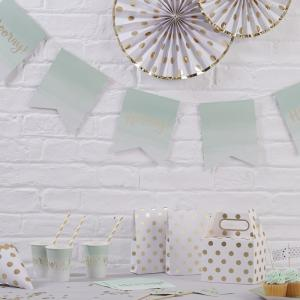 Mint Green Ombre & Gold Foiled Paper Bunting - Pick & Mix
