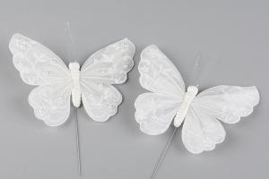 White Butterfly Pearl on Stick 13 cm - Feather Romance