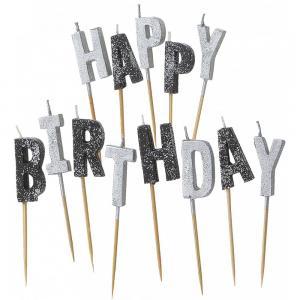 Black Happy Birthday Candles - tårtljus