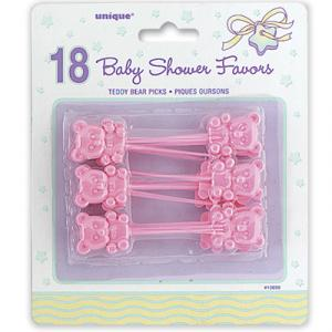 Pink Teddy Bear Plastic Picks - rosa nallebjörnssticks