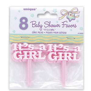 It's a Girl Plastic Picks - rosa sticks