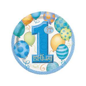 First Birthday Balloons Blue Paper Dessert Plates