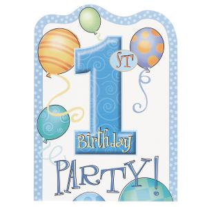 First Birthday Balloons Blue Invitation Cards