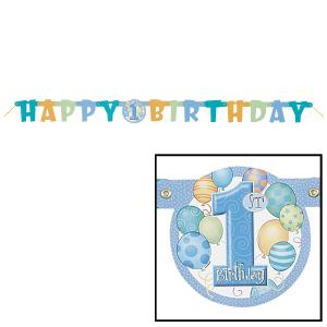 First Birthday Balloons Blue Jointed Banner