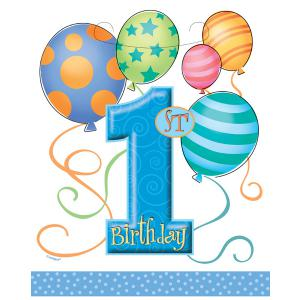 First Birthday Balloons Blue Plastic Party Bags