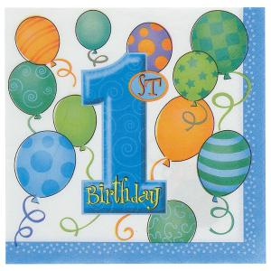 First Birthday Balloons Blue Paper Luncheon Napkins