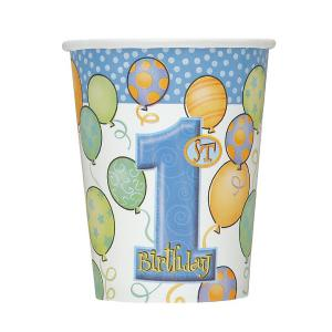 First Birthday Balloons Blue Paper Cups