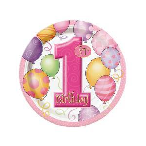 First Birthday Balloons Pink Dessert Plates