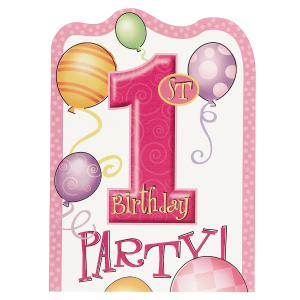 First Birthday Balloons Pink Invitation Cards