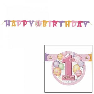First Birthday Balloons Pink Jointed Banner