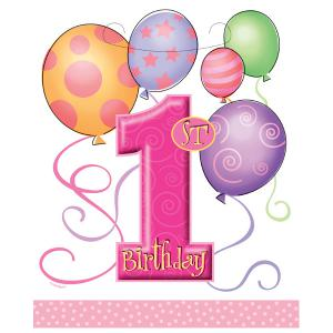 First Birthday Balloons Pink Plastic Party Bags
