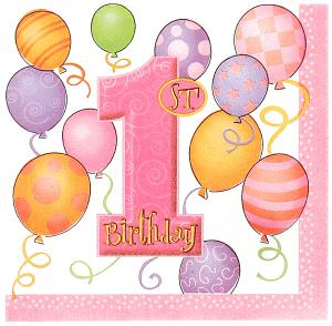 First Birthday Balloons Pink Paper Luncheon Napkins