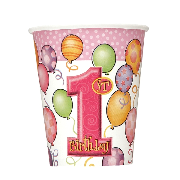 First Birthday Balloons Pink Paper Cups