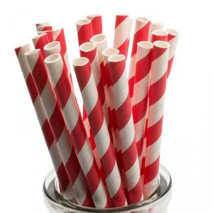 Red Striped Paper Straws - rödvitrandiga sugrör