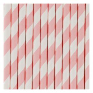 Pink & White Striped Straws