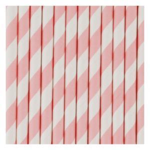 Pink & White Striped Straws
