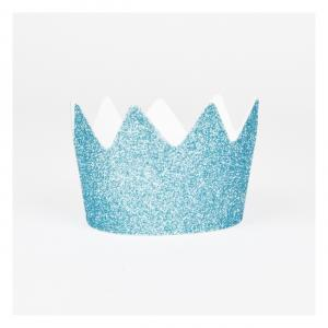8 Blue Glitter Crowns