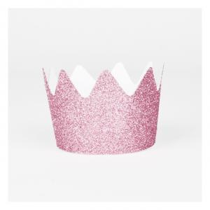 8 Pink Glitter Crowns
