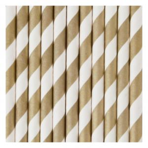 Gold & White Striped Straws