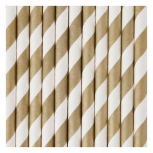 Gold & White Striped Straws