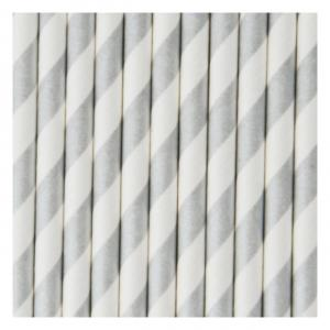 Silver & White Striped Straws