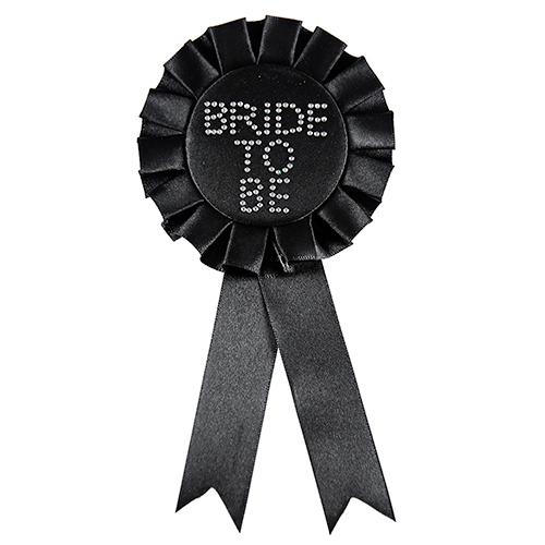 Bride To Be Diamond Rosette - svart möhipperosett
