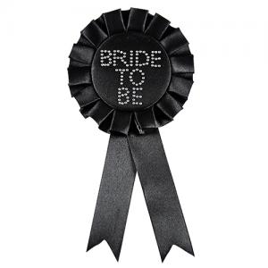 Bride To Be Diamond Rosette - svart möhipperosett