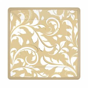 Gold Elegant Scroll Square Metallic Paper Plates - 18 cm