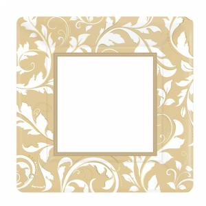 Gold Elegant Scroll Square Metallic Paper Plates - 25,4 cm