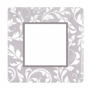 Silver Elegant Scroll Square Metallic Paper Plates - 25,4 cm