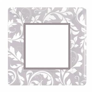 Silver Elegant Scroll Square Metallic Paper Plates - 25,4 cm