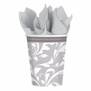 Silver Elegant Scroll Paper Cups