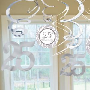 Silver 25th Anniversary Swirl Decorations